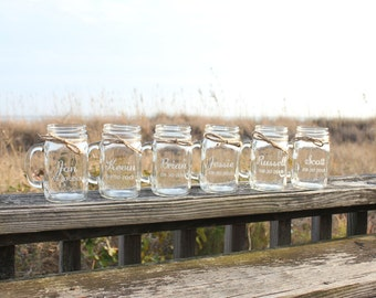 7  Mason Jar Mugs, Bridal Party gifts, Personalized Mason Jar Mugs, Engraved Mason Jar Mugs, Wedding Favors, Party Favors, Wedding Keepsake