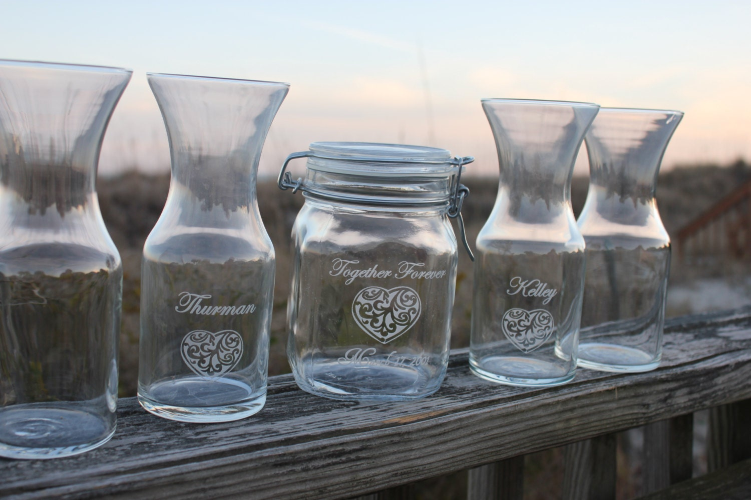 5 Piece Unity Sand Ceremony Set Country Style 4 Pouring Vases