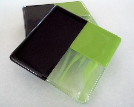 FUSED GLASS COASTERS - Lime Green and Black Fused Glass Coasters - Set of 4