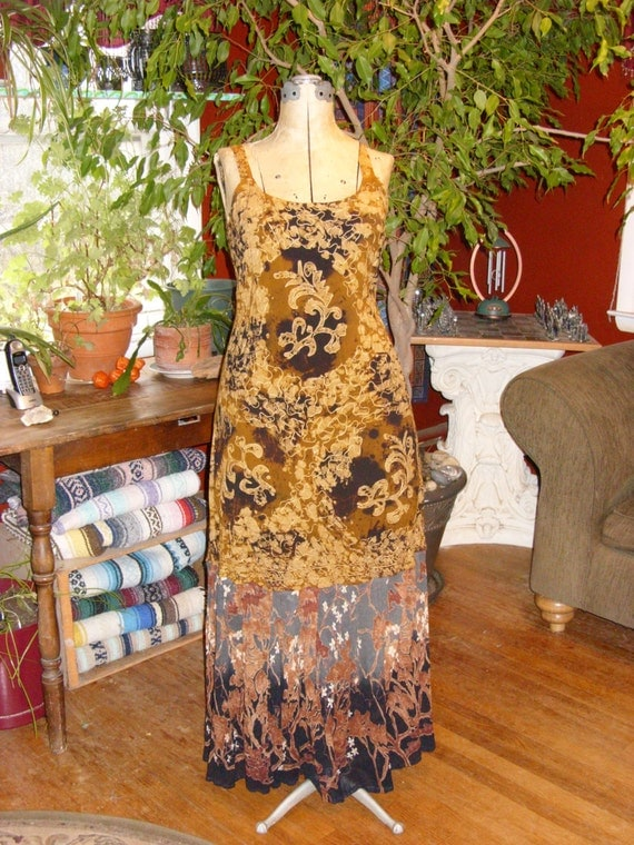 Earthy Nature Gypsy Sun Dress Boho Embroidered Brown Gold Grey Black
