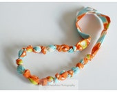 Youth Sized - Fabric Necklace - Fashionable, Chewable, Loveable - Blue and Orange