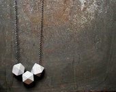 Gray Geometric Wood Necklace - Boho Necklace - Everyday