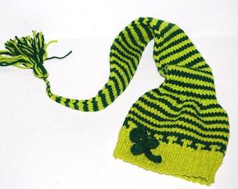 Hand knit  BABY HAT Shamrock   St. Patrick Pixie Elf Newborn 3  Munchkins  Stocking Cap Green Mint Clover Irish   ready to ship  photo prop