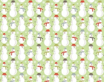 Riley Blake A Merry Little Christmas -- Full or Half Yard Snowmen on Green Quilting Fabric