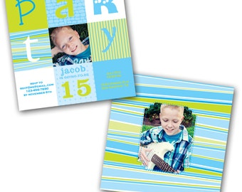 INSTANT DOWNLOAD -  Birthday Invitation Photoshop Psd Photo Card Template Photographers - Bright Boy - 0560