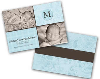 INSTANT DOWNLOAD - Birth announcement photo card template, 5X7 card - 0309