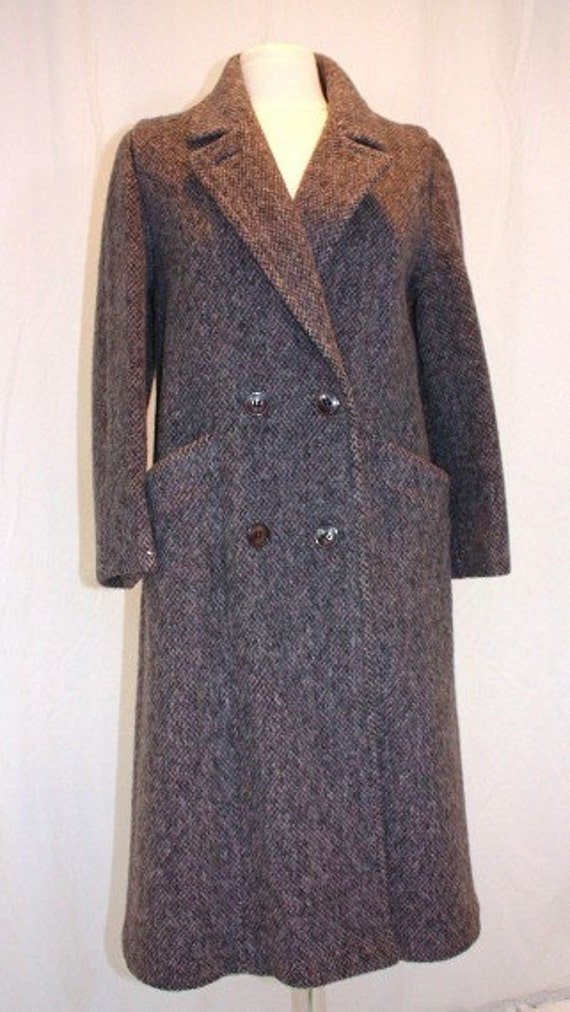 Mauve Gray Wool Coat Petite Small Tweed Double Breasted Pockets Vintage Retro 80 Hipster Traditional Herman Kay CLASSIC