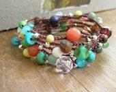 Colorful crochet wrap bracelet, Bohemian crochet jewelry, long crochet necklace, tribal gypsy boho bracelet earthy, czech glass, gemstones