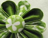 Flower Pin Green Apple Silk Kanzashi with Butterfly Fabric Covered Button