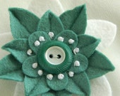 Felt Flower Pin - Cool Green and White with Vintage Green and White Button and French Knots