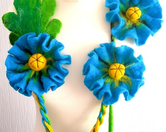 Felted Flower, Hand Felted, Wool Jewelry felted NECKLACE  and BROOSH -Blue poppy-