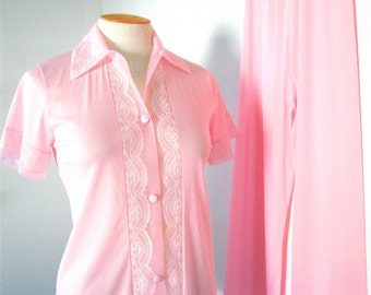 Pink Pajamas Vintage Henson Kickernick 1950's Lingerie Lace Nylon Small Pajama Party