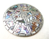 """vintage silver abalone brooch Hecho En Mexico inlaid sundial pendent 2 1/4"""""""