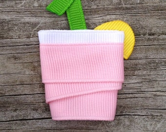 Pink Lemonade Ribbon Sculpture Hair Clip, Girls Hair Clips, Summer Hair Clip, Pink Lemonade Hair Clip, Toddler Hair Bows, Free Ship Promo