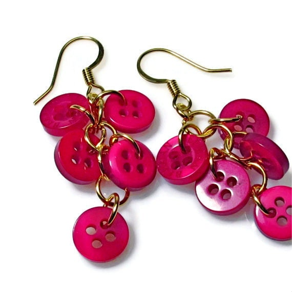 Dangle Button Earrings in Raspberry