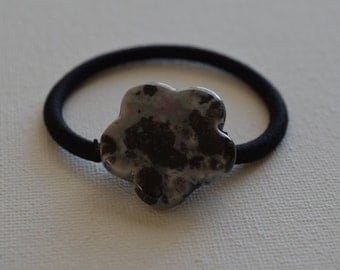 Ceramic flower bead, gray, black, & pink, ponytail holder