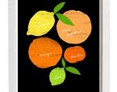 """Citrus Love Black Kitchen Art Print  11""""x15 - archival fine art giclée print"""