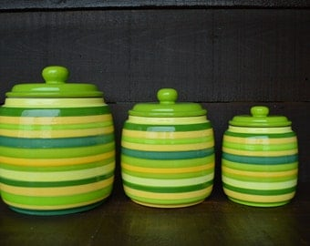 Custom Set of 3 Kitchen Canisters - Pick your Colors and Patterns - XL, L, M