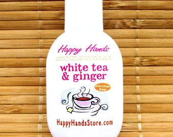 White Tea & Ginger Hand Cream for Knitters - 1oz Refillable Tottle HAPPY HANDS Shea Butter Hand Lotion