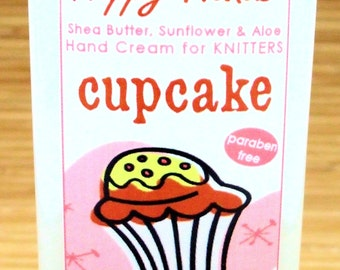 Cupcake Scented Hand Cream for Knitters - 2oz Travel Size  HAPPY HANDS Shea Butter Hand Lotion