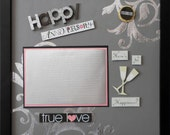 HERE'S TO HAPPINESS Anniversary Premade Memory Album Page (Shadow Box Frame Sold Separately)