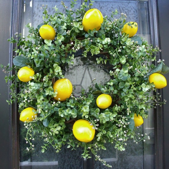 Lemon Wreath Lemon Kitchen Decor Boxwood Wreath Spring