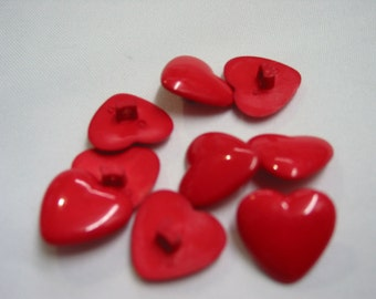 5 pcs Red Heart Buttons