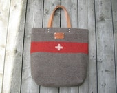 Swiss Army Blanket  Bag - XL- red  stripe - Carry All Tote- Personalized- Top Grade Leather Handles - Great Gift  for men