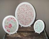 Set of 3 Oval Metal Vintage Frames White Dry Erase Fabric Shabby Cottage