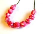 SALE - Pretty in Pink Fabric Beaded Necklace