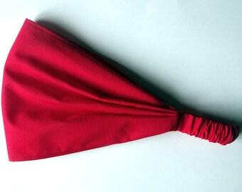 Yoga Headband Bandana - Solid Red Cotton fabric