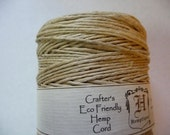 Cord, Polished Hemp, Natural, 1mm, diameter, 20-pound test, Sold per 25-Foot