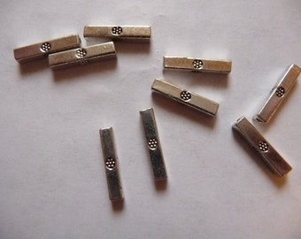 Bead, ZincRich Pewter, Antiqued, Silver Finished, 13x2mm, Double sided, Square tube, Pkg Of 12
