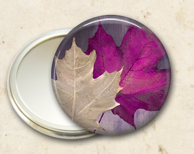 colorful fall leaves pocket mirror, original art hand mirror, mirror for purse, bridesmaid gift, stocking stuffer MIR-300
