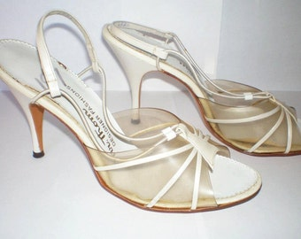 Vintage 1950s 50s lucite heels deadstock new old store stock plastic vinyl slingback high heels sz. 8 Narrow VLV