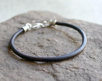 Men's Thick Bracelet 4mm Dark Brown Round Leather Surfer Surf Wrap, Mens Bracelet, Mens Jewelry