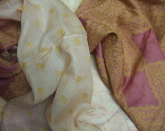 Beautiful Embroidery Recycled sari  pure silk scarf (22x72)