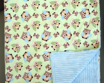 "Baby Blanket - Cute Owls on Flannel with Blue Ribbed Minky, 29"" X 35"""