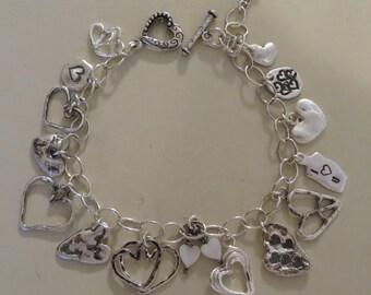 Multi Heart Charm Bracelet Whimsical Sterling Silver Hand Forged Sale JJDLJewelryArt