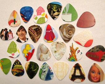 Free shipping to U. S.A   lot of 20 Upcycled Guitar Picks from recycled repurposed gift cards