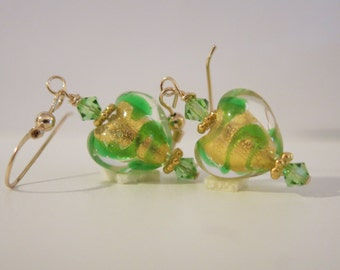 Venetian Glass Green Heart 14K Gold Fill Earrings