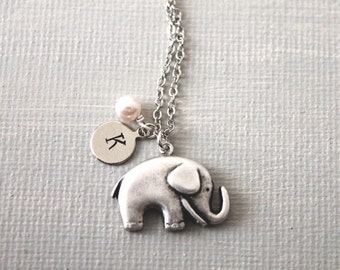 Elephant Necklace. personalized initial elephant necklace. friendship necklace. silver elephant necklace
