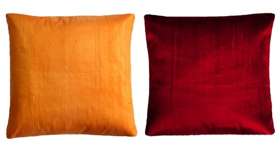 Standard Decorative Pillow Measurements : Orange & Dark-red Throw Pillows Standard pillow size 16x16