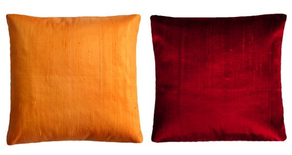Standard Decorative Pillow Dimensions : Orange & Dark-red Throw Pillows Standard pillow size 16x16