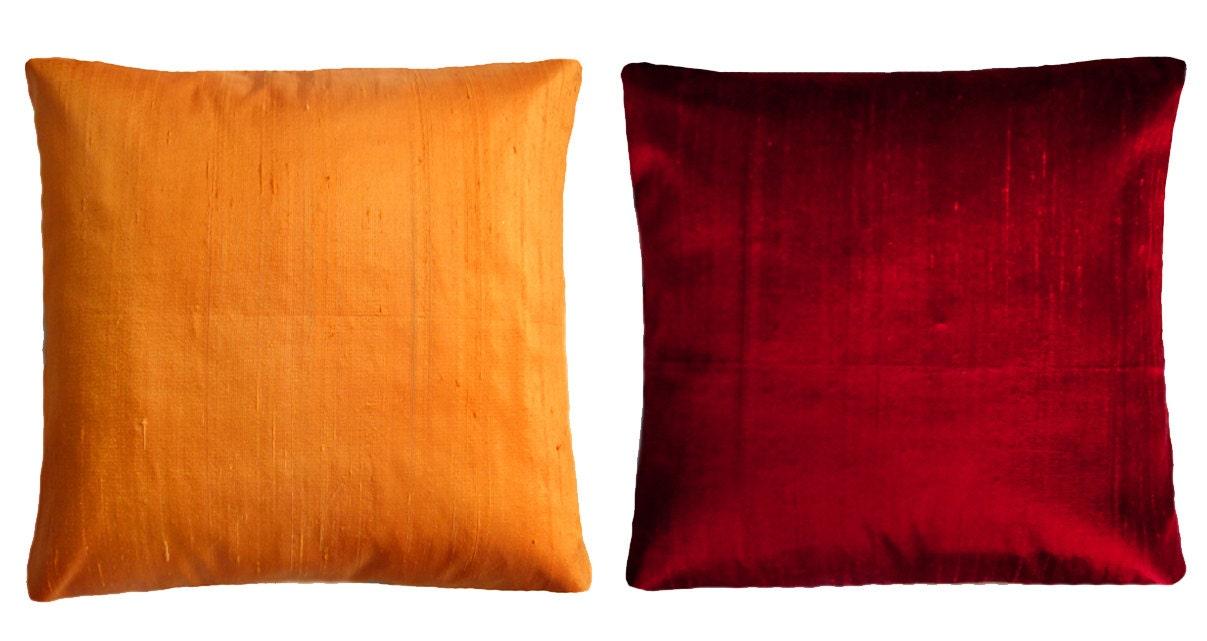 Orange & Dark-red Throw Pillows Standard pillow size 16x16