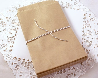 50 SMALL Kraft brown paper bags 3 1/2 x 5 3/4 inch - Packaging, Wedding Favors, Merchandise Bags, Gift Wrapping