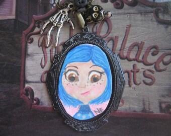 Coraline.vintage button assemblage handpainted art pendant