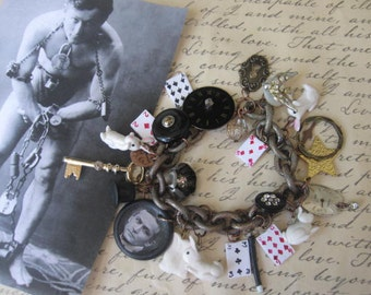 Abracadabra.vintage jewelry handsculpted magic inspired charm bracelet