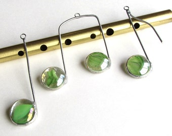 Three Glass Musical Notes Green and Silver Suncatcher Ornaments