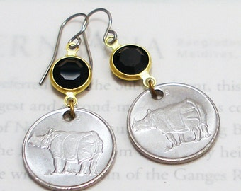 India, Authentic Coin Earrings --- Rhinoceros Unicornis --- Wildlife - Eco Vacation - Indian Rhino - Endangered Species - Be a Traveler